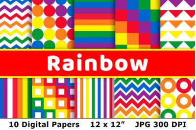 Rainbow Digital Papers, Rainbow Patterns