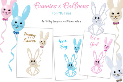 Bunnies & Balloons PNG - For Crafters