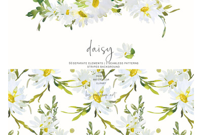 Watercolor Daisy Clip Art - Hand Painted Daisy Clipart - Individual El