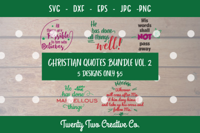 Christian Quotes SVG Bundle Vol. 2 SVG, DXF, EPS, PNG, JPG