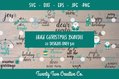 Huge Christmas Craft Bundle - SVG , DXF, PNG, JPG, EPS