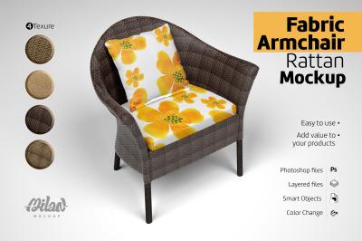 Fabric Armchair Rattan - Mockup