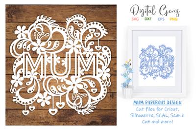 Mum  papercut design