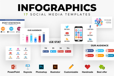 Infographic templates. Social media marketing. PSD AI EPS PPT KEY