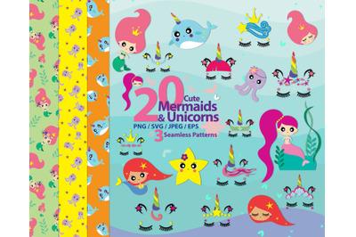 Cute mermaids & unicorns high res