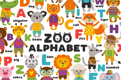 alphabet with cute animals