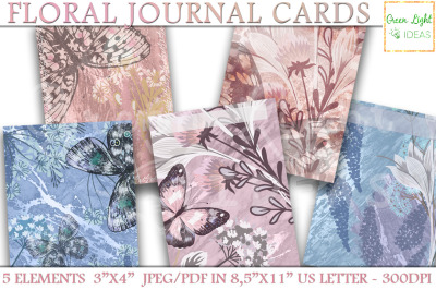 Printable Floral Journal Cards