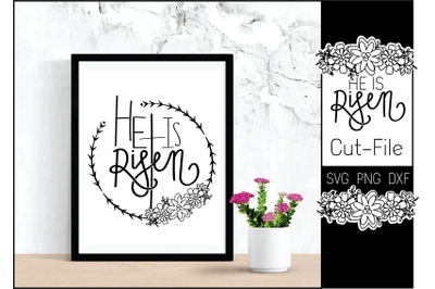 New He Is Risen Hand-lettering Faith Cut-File