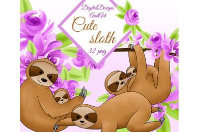 Cute sloths clipart