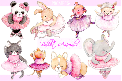 Watercolor Ballet Animals | 8 Hand Painted Illustrations | PNG/JPEG