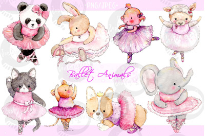 Watercolor Ballet Animals   8 Hand Painted Illustrations   PNG/JPEG