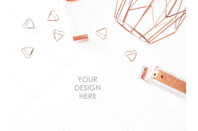 Rose Gold Stationery Stock Photo