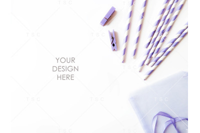 Lilac Clips and Paper Straw Stock Photo