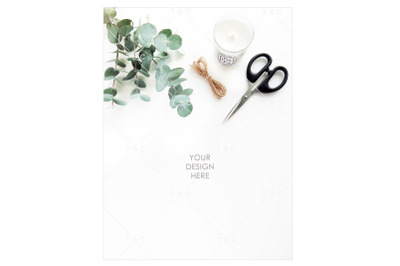 Eucalyptus Leaves, Candle and Scissor Stock Photo