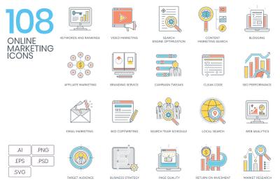 108 Online Marketing Icons