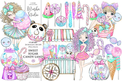 SWEET SUGAR CANDY LAND Clipart
