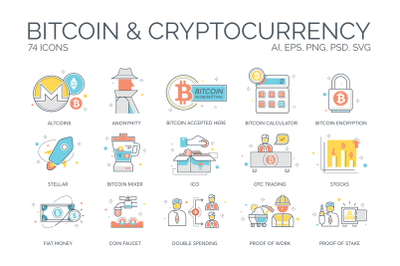 74 Bitcoin & Cryptocurrency Icons