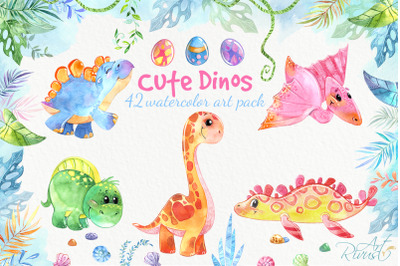 Dinosaurs, cute Dino baby watercolor clipart pack