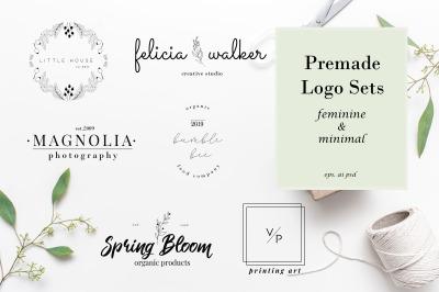 Minimal Premade Logo sets, feminine and minimal