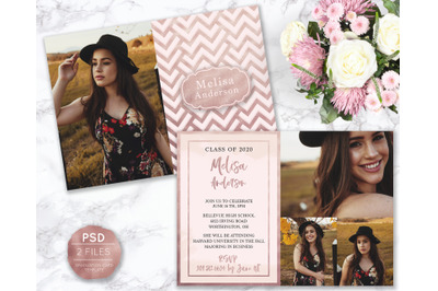 Senior Announcement Card - Rose gold - Photoshop Template