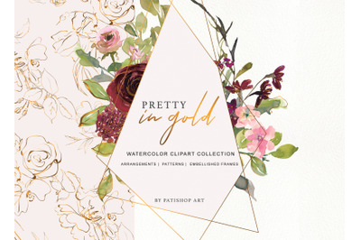 Watercolor Burgundy Blush and Gold Floral Bouquet Clipart
