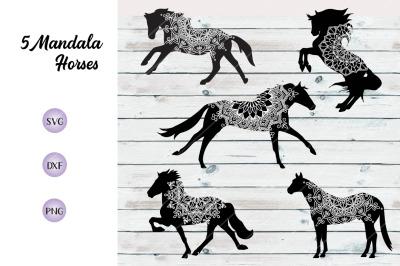 Horse Vector Mandala Bundle - SVG DXF PNG