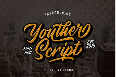 Youther Brush - Layered Font Duo