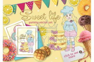 SWEET LIFE Cartoon Confectionary Vector Illustration Set