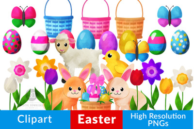 Watercolor Easter Clipart, Easter Bunny, Easter Basket, Easter Eggs