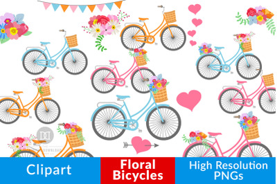 Floral Bicycles Clipart