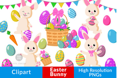 Easter Bunny Clipart, Easter Clipart, Easter Eggs, Easter Basket