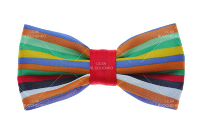 Bow tie with color rainbow strip. isolated on white.