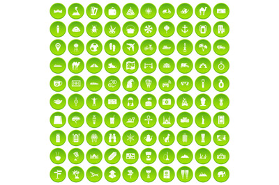 100 tourism icons set green
