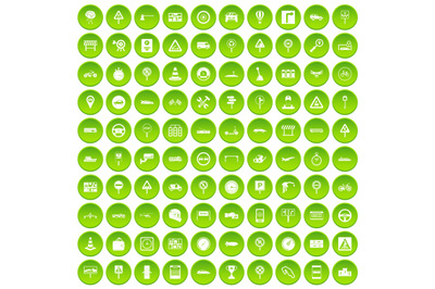 100 traffic icons set green