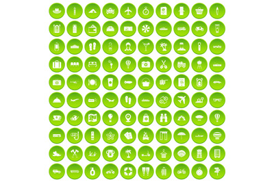 100 travel time icons set green