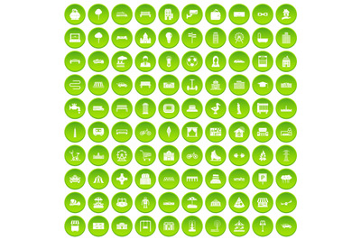 100 urban icons set green