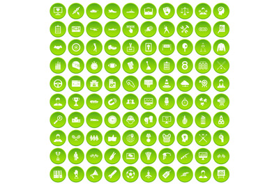 100 victory icons set green