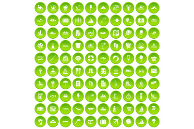 100 water recreation icons set green