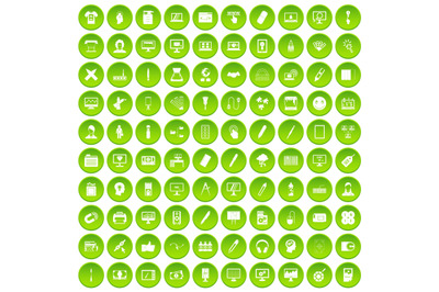 100 webdesign icons set green