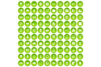 100 web development icons set green