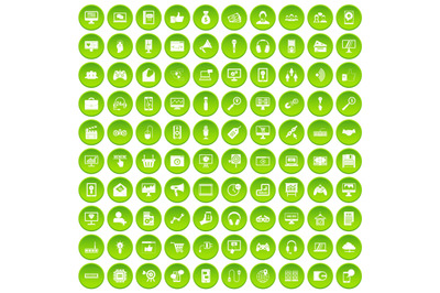 100 web and mobile icons set green
