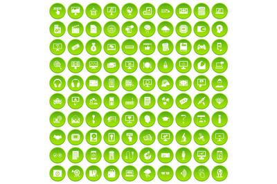 100 website icons set green