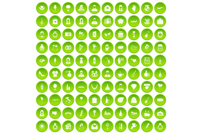 100 wedding icons set green