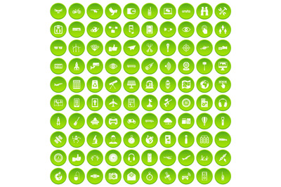 100 wireless technology icons set green