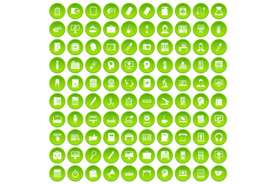 100 work space icons set green