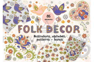 FOLK DECOR Ethnic Vector Illustration Seamless Pattern and Alphabet