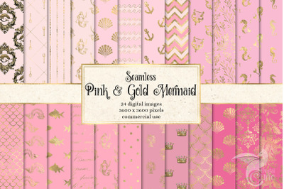 Pink and Gold Mermaid Digital Paper