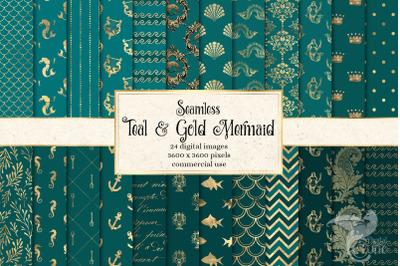 Teal and Gold Mermaid Digital Paper