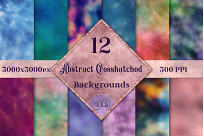 Abstract Crosshatched Backgrounds - 12 Image Set