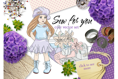 SEW FOR YOU Sewing Cartoon Clipart Vector Illustration Set